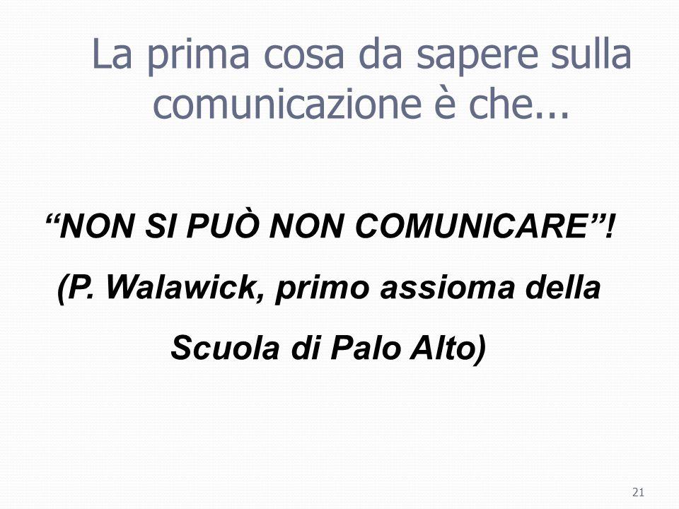 NON SI PUÒ NON COMUNICARE ! (P. Walawick, primo assioma della