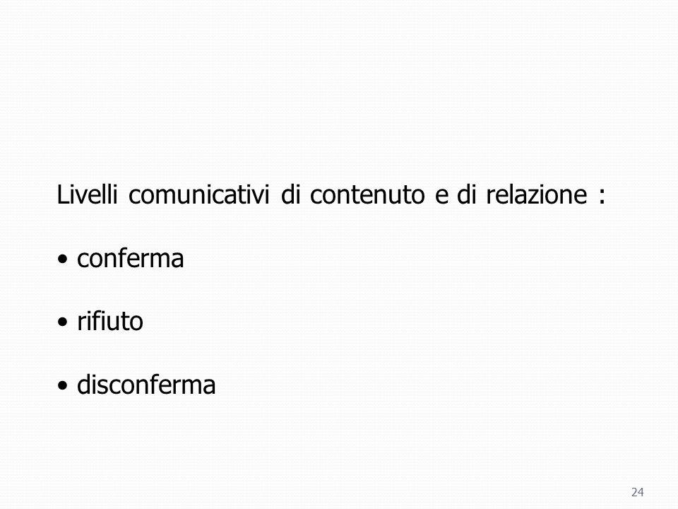 Livelli comunicativi di contenuto e di relazione :