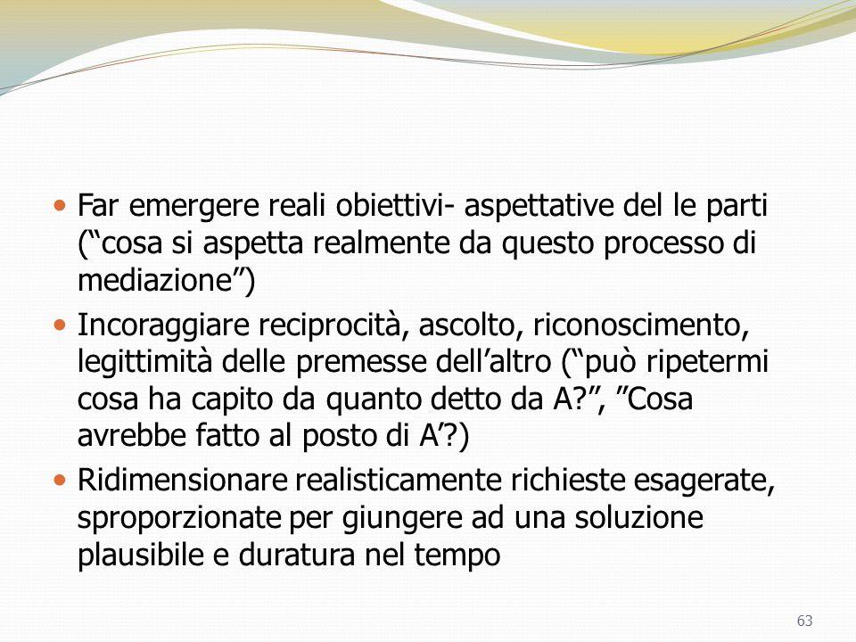 Far emergere reali obiettivi- aspettative del le parti ( cosa si aspetta realmente da questo processo di mediazione )