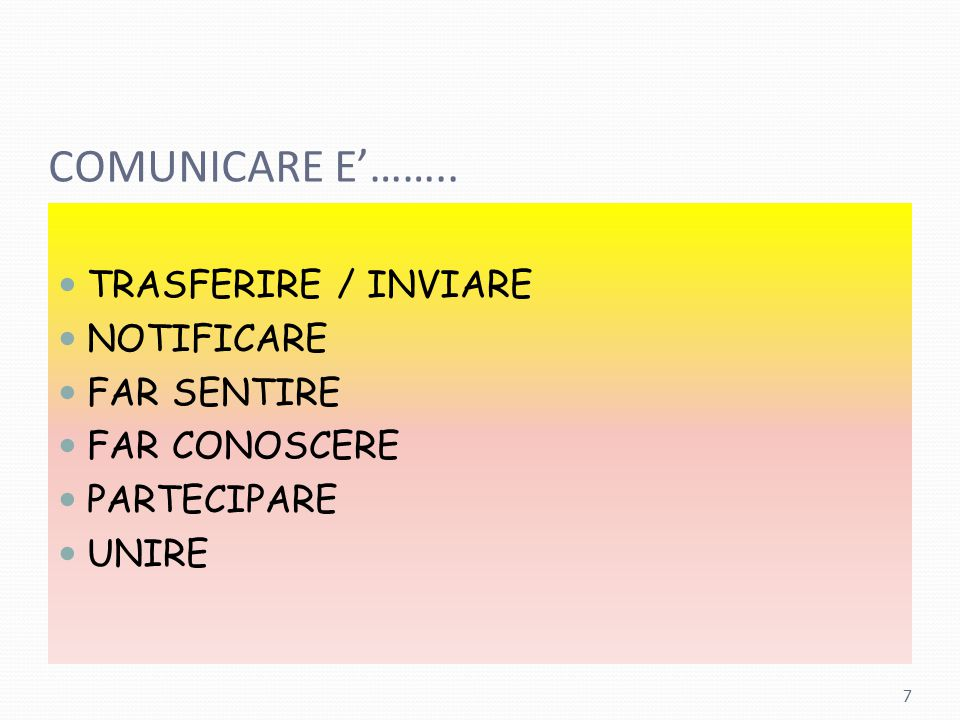 COMUNICARE E'…….. TRASFERIRE / INVIARE NOTIFICARE FAR SENTIRE