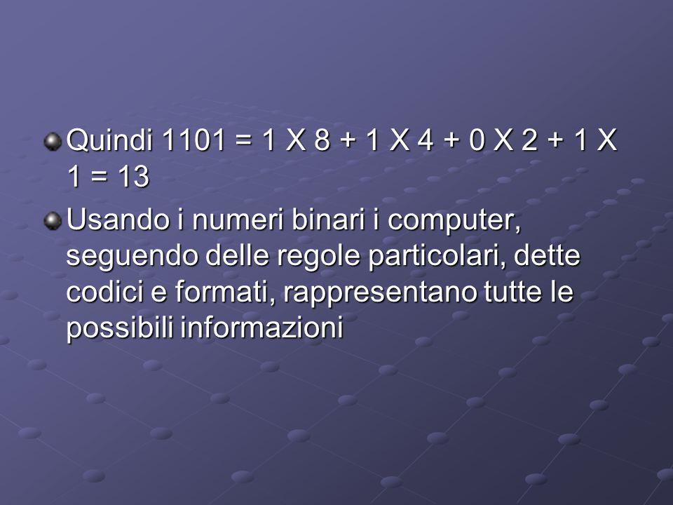 Quindi 1101 = 1 X 8 + 1 X 4 + 0 X 2 + 1 X 1 = 13