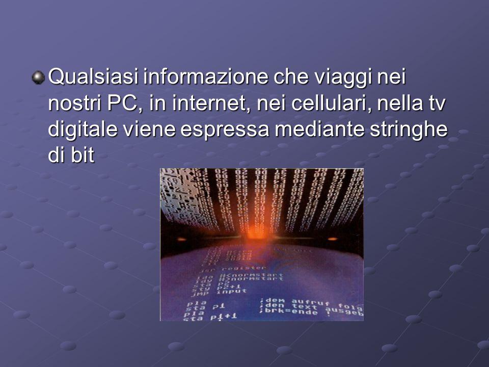 Qualsiasi informazione che viaggi nei nostri PC, in internet, nei cellulari, nella tv digitale viene espressa mediante stringhe di bit