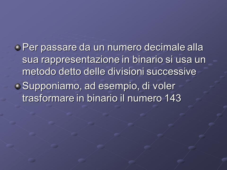 Per passare da un numero decimale alla sua rappresentazione in binario si usa un metodo detto delle divisioni successive