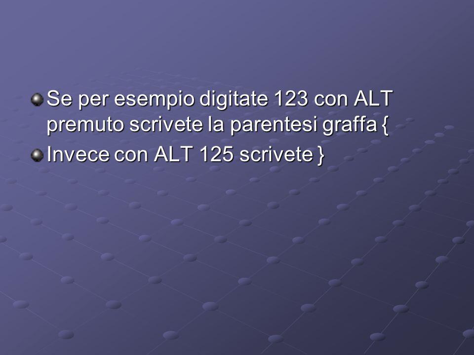 Se per esempio digitate 123 con ALT premuto scrivete la parentesi graffa {