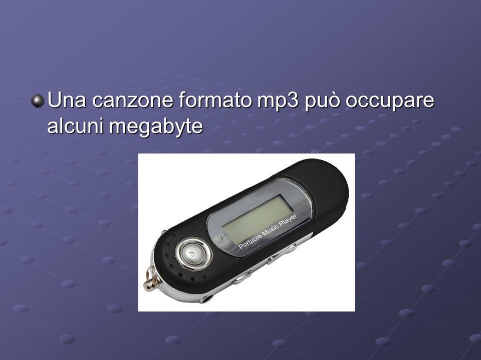 Una canzone formato mp3 può occupare alcuni megabyte