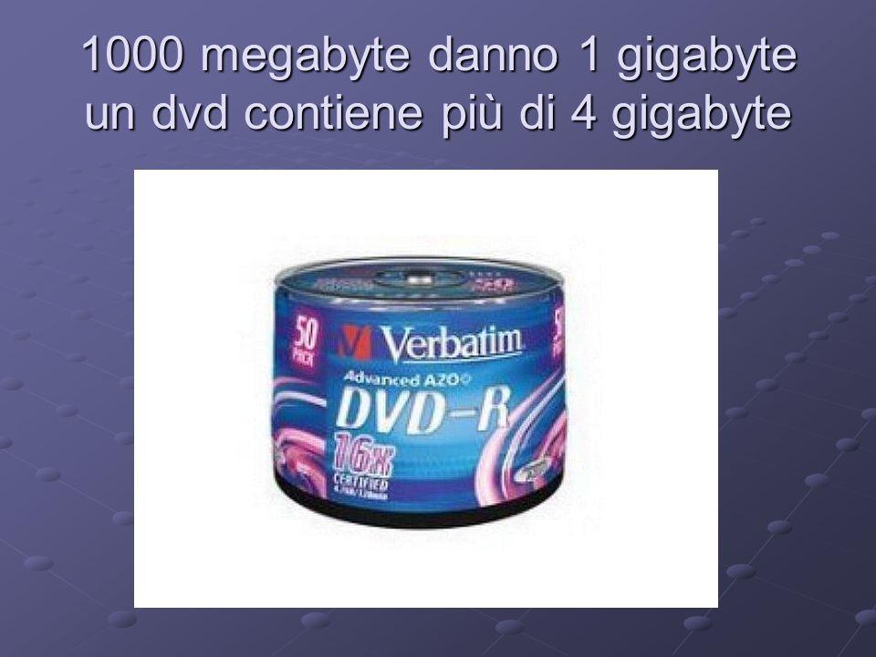 1000 megabyte danno 1 gigabyte un dvd contiene più di 4 gigabyte