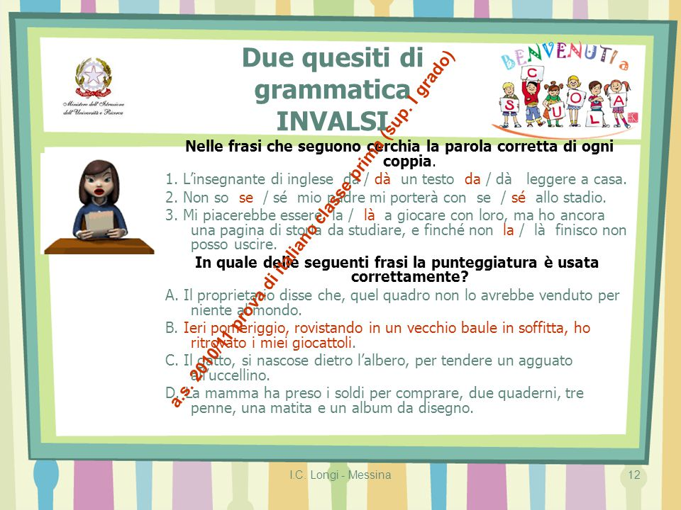 Due quesiti di grammatica INVALSI