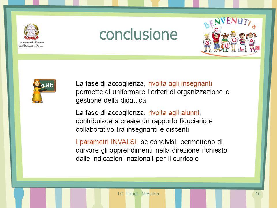 conclusione La fase di accoglienza, rivolta agli insegnanti permette di uniformare i criteri di organizzazione e gestione della didattica.