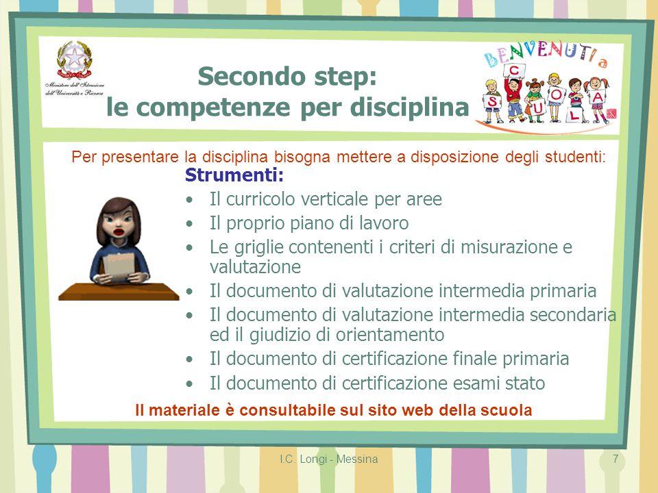 Secondo step: le competenze per disciplina
