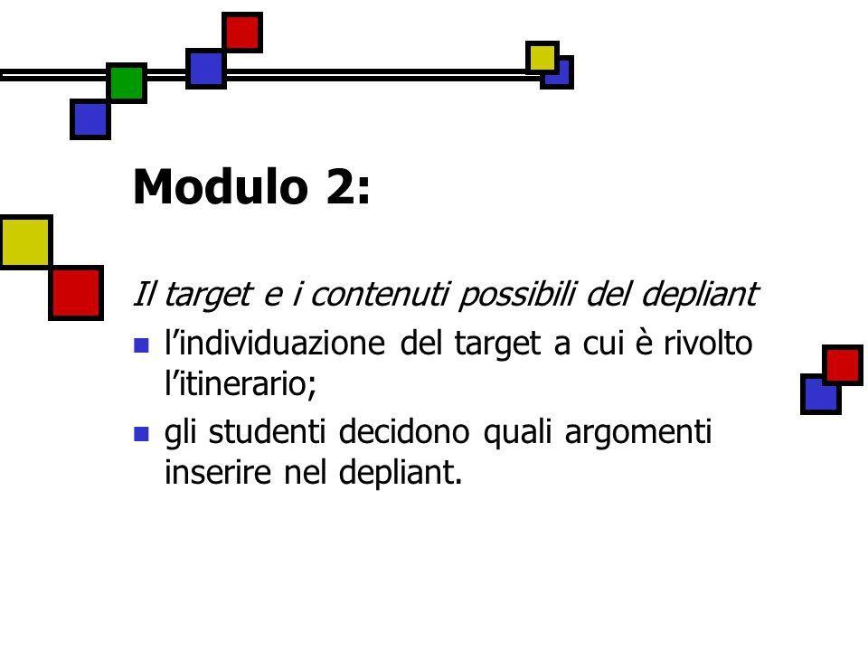 Modulo 2: Il target e i contenuti possibili del depliant