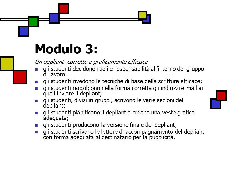 Modulo 3: Un depliant corretto e graficamente efficace