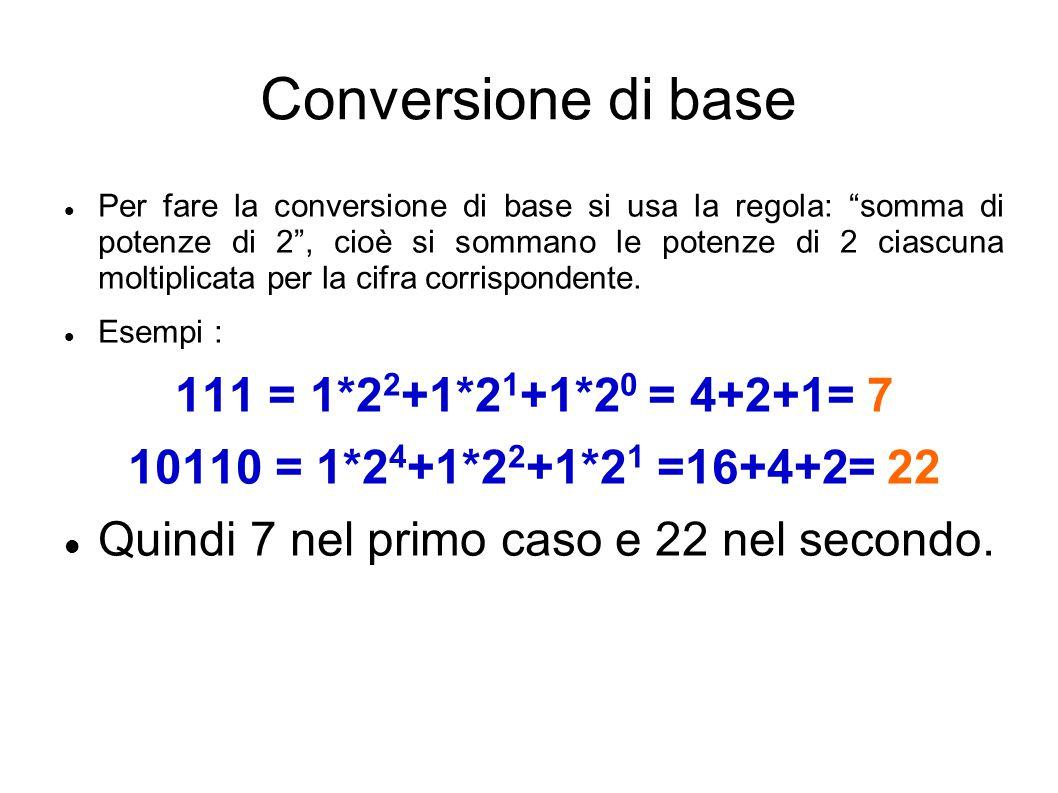 Conversione di base 111 = 1*22+1*21+1*20 = 4+2+1= 7