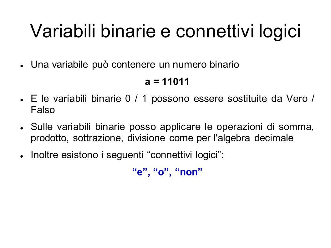 Variabili binarie e connettivi logici