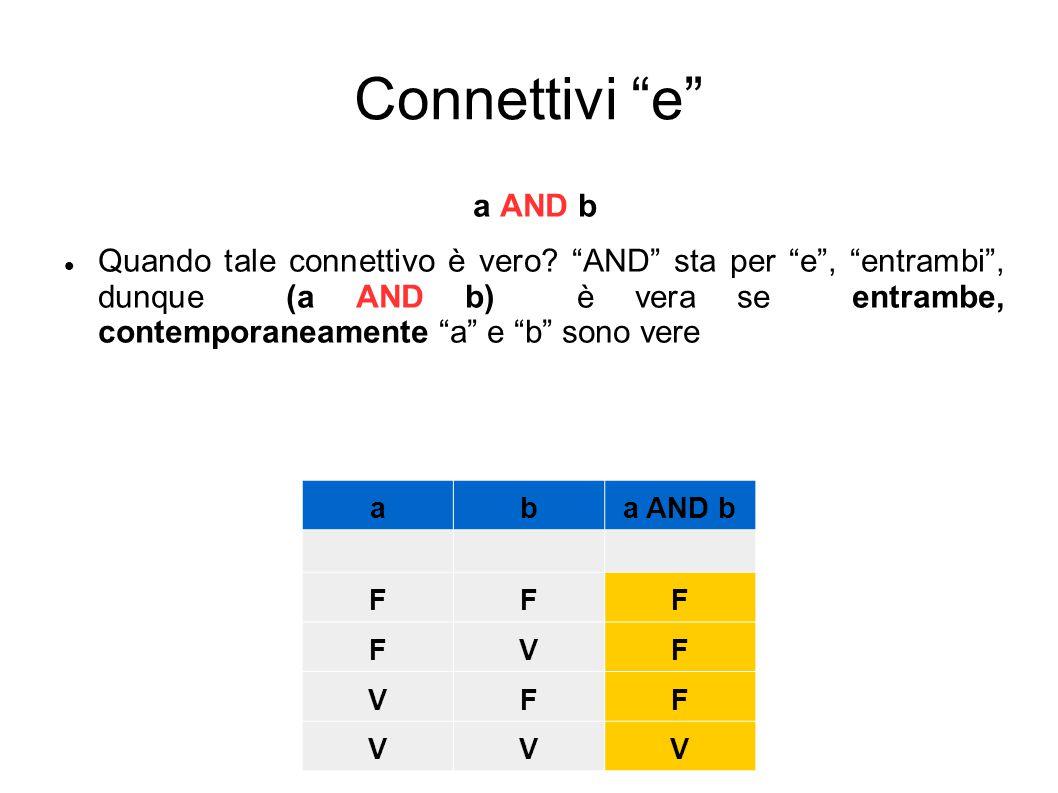 Connettivi e a AND b.