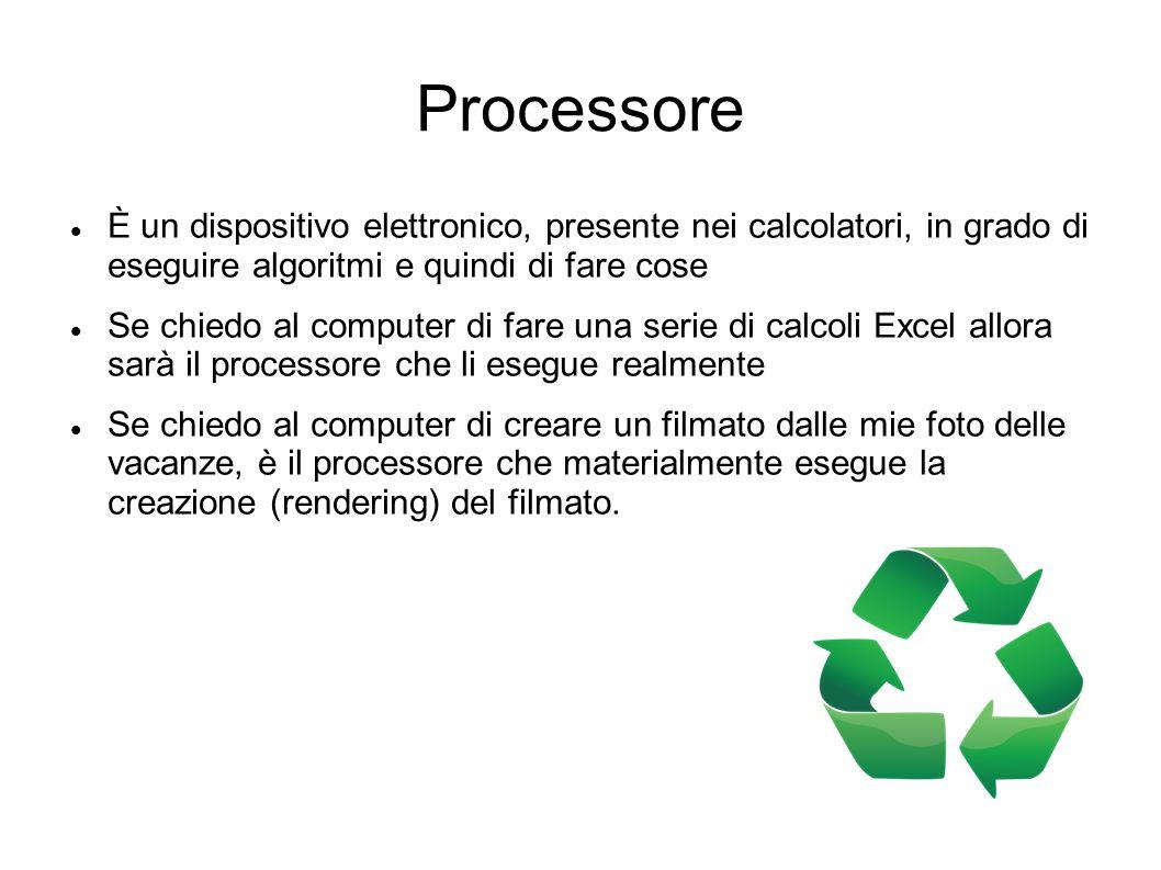 Processore È un dispositivo elettronico, presente nei calcolatori, in grado di eseguire algoritmi e quindi di fare cose.