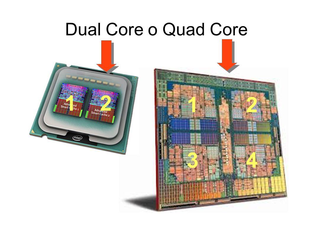 Dual Core o Quad Core 1 2 1 2 3 4