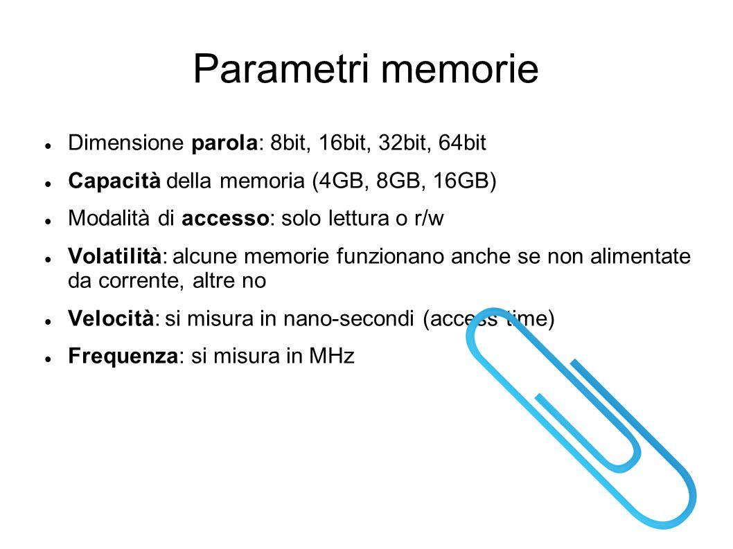 Parametri memorie Dimensione parola: 8bit, 16bit, 32bit, 64bit