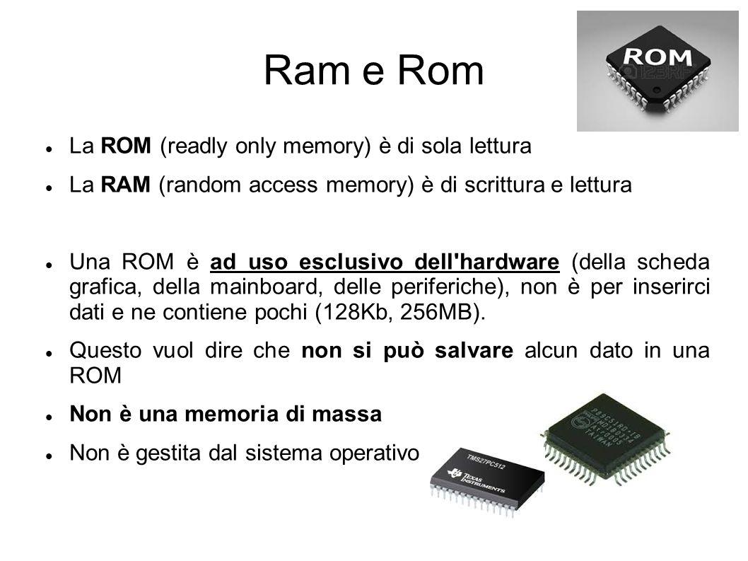 Ram e Rom La ROM (readly only memory) è di sola lettura