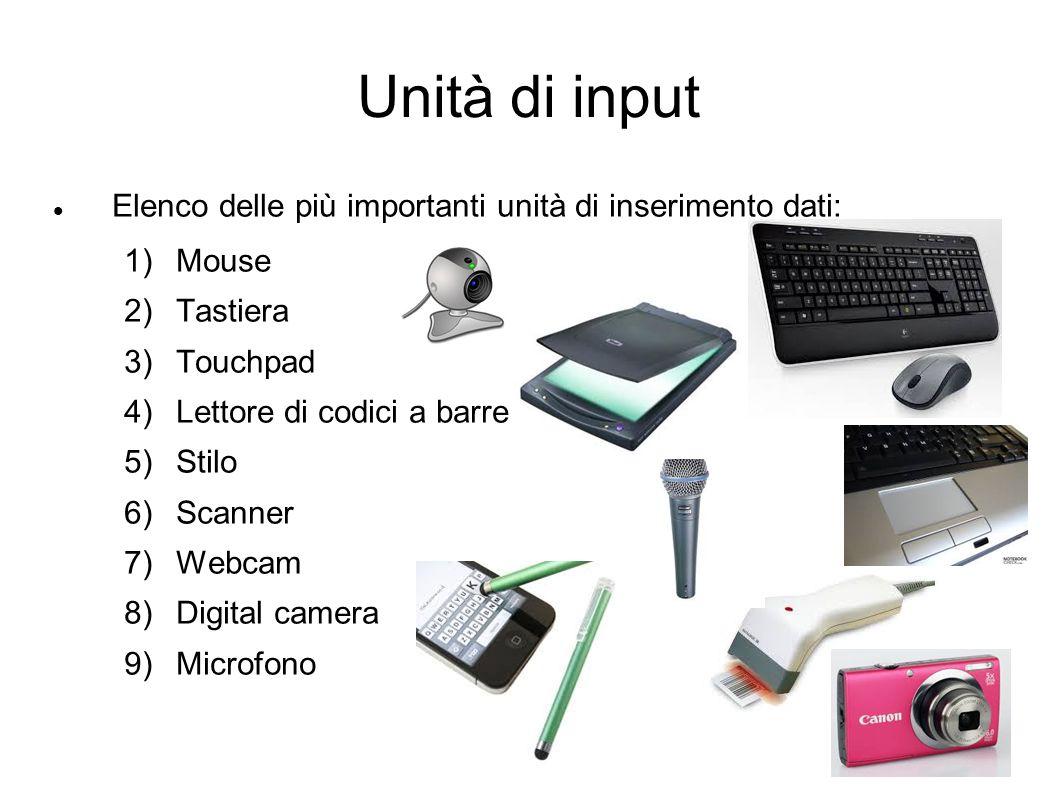 Unità di input Elenco delle più importanti unità di inserimento dati: