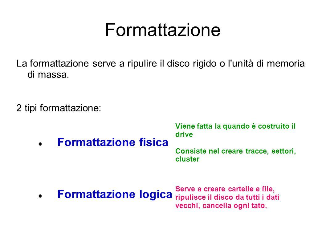 Formattazione Formattazione fisica Formattazione logica