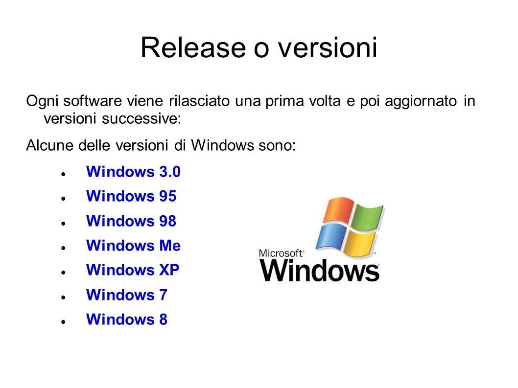Release o versioni Ogni software viene rilasciato una prima volta e poi aggiornato in versioni successive:
