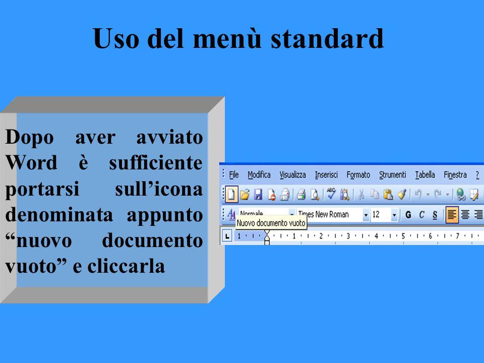 Uso del menù standard Dopo aver avviato Word è sufficiente portarsi sull'icona denominata appunto nuovo documento vuoto e cliccarla.