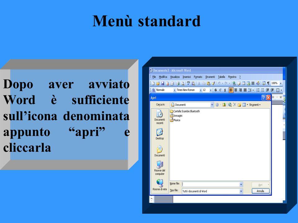 Menù standard Dopo aver avviato Word è sufficiente sull'icona denominata appunto apri e cliccarla
