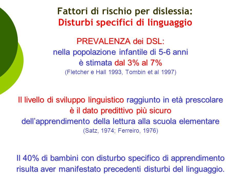 Fattori di rischio per dislessia: Disturbi specifici di linguaggio