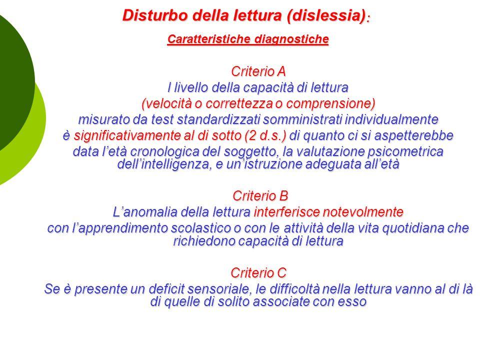 Disturbo della lettura (dislessia): Caratteristiche diagnostiche