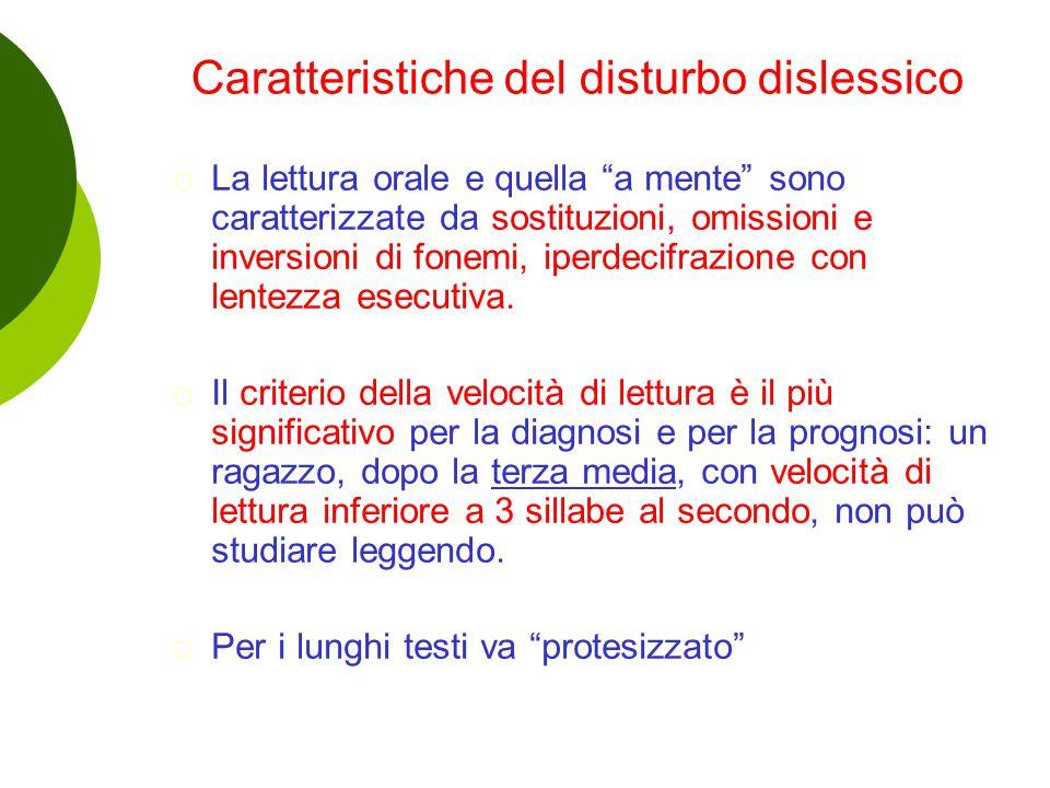 Caratteristiche del disturbo dislessico