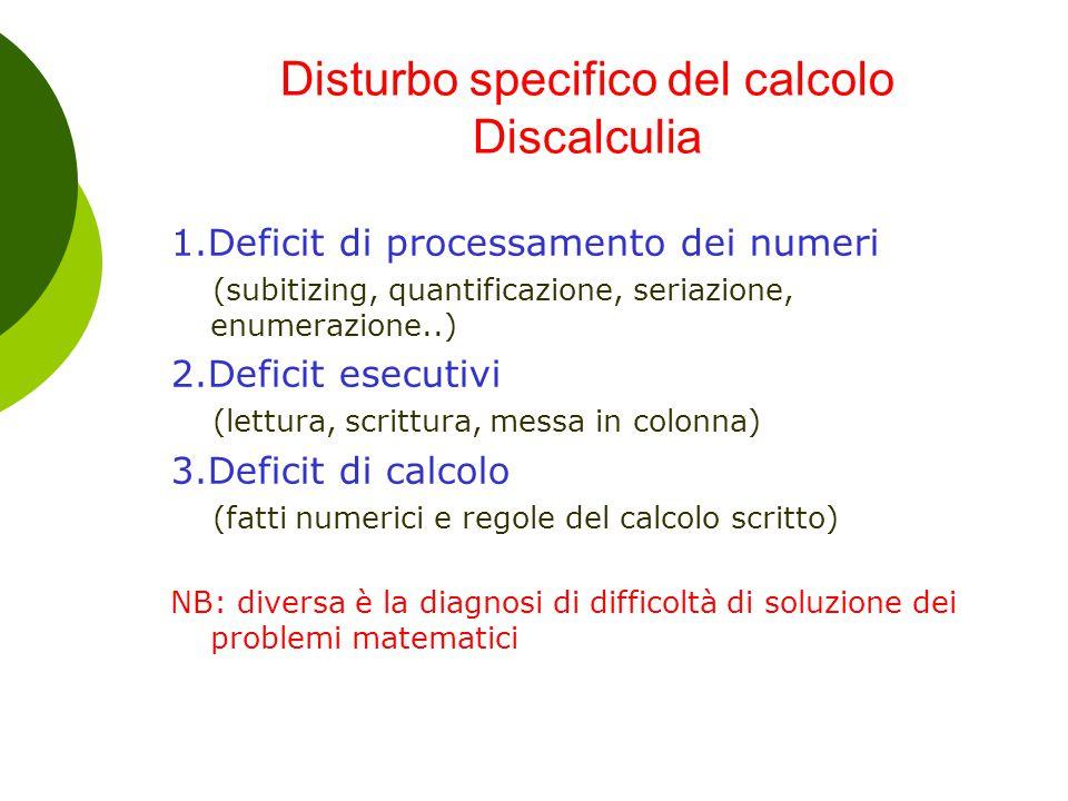 Disturbo specifico del calcolo Discalculia