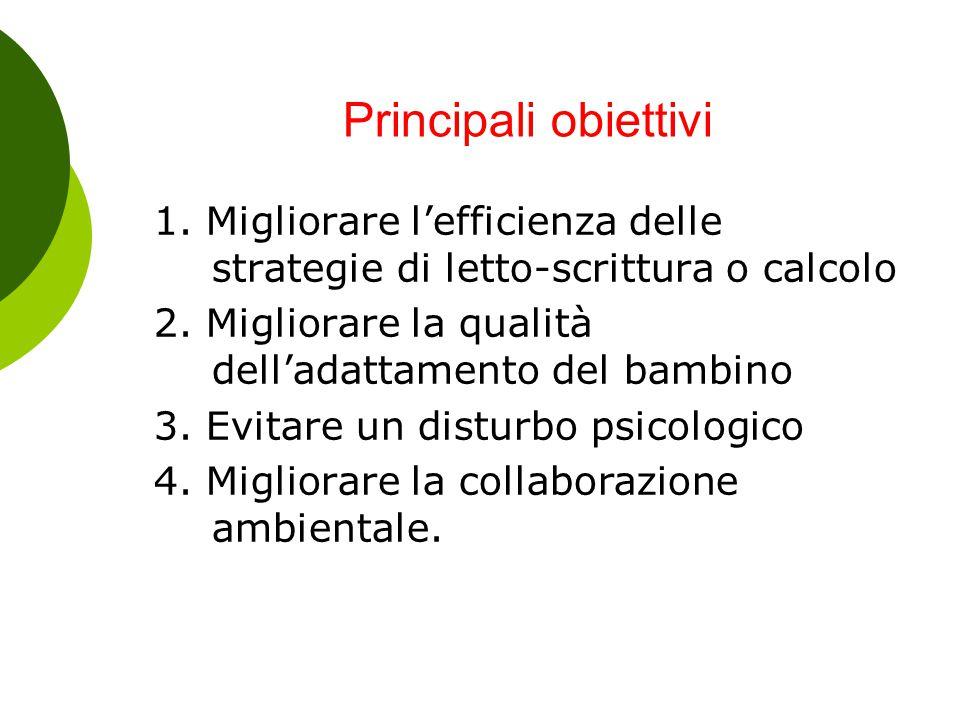 Principali obiettivi 1. Migliorare l'efficienza delle strategie di letto-scrittura o calcolo. 2. Migliorare la qualità dell'adattamento del bambino.