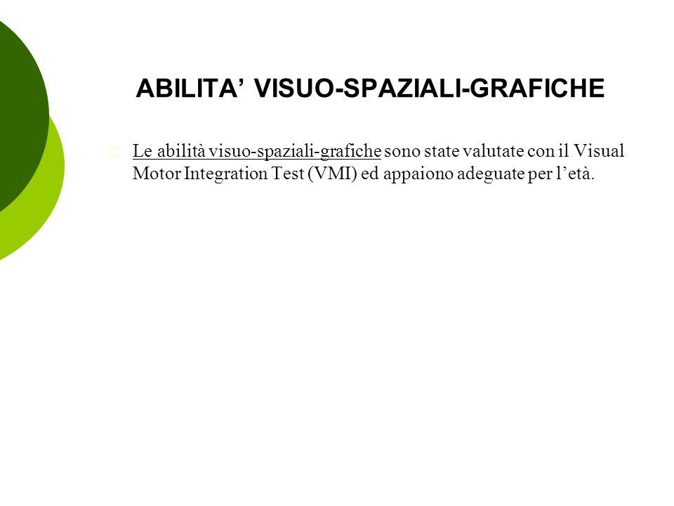 ABILITA' VISUO-SPAZIALI-GRAFICHE