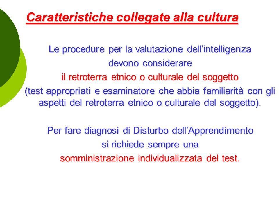 Caratteristiche collegate alla cultura
