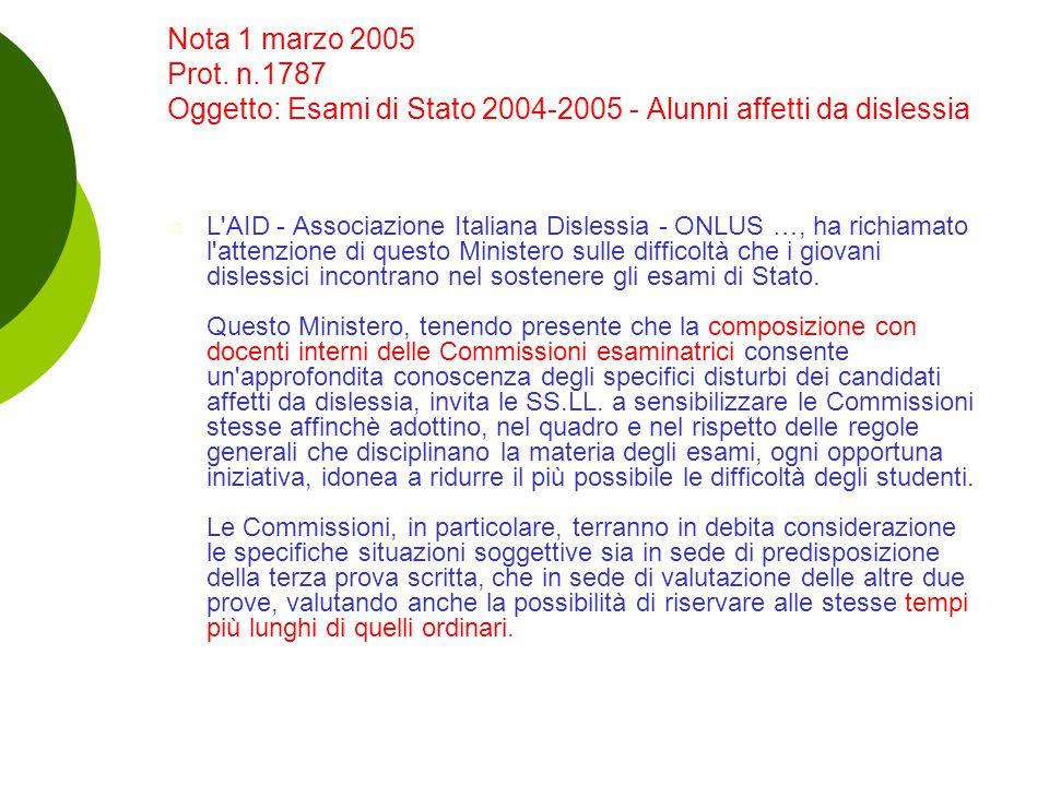 Nota 1 marzo 2005 Prot. n.1787 Oggetto: Esami di Stato 2004-2005 - Alunni affetti da dislessia