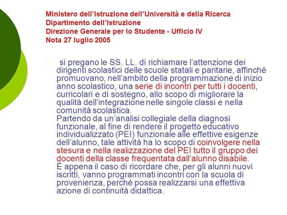 Ministero dell'Istruzione dell'Università e della Ricerca Dipartimento dell'Istruzione Direzione Generale per lo Studente - Ufficio IV Nota 27 luglio 2005