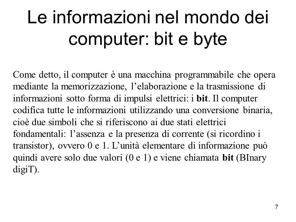 Le informazioni nel mondo dei computer: bit e byte