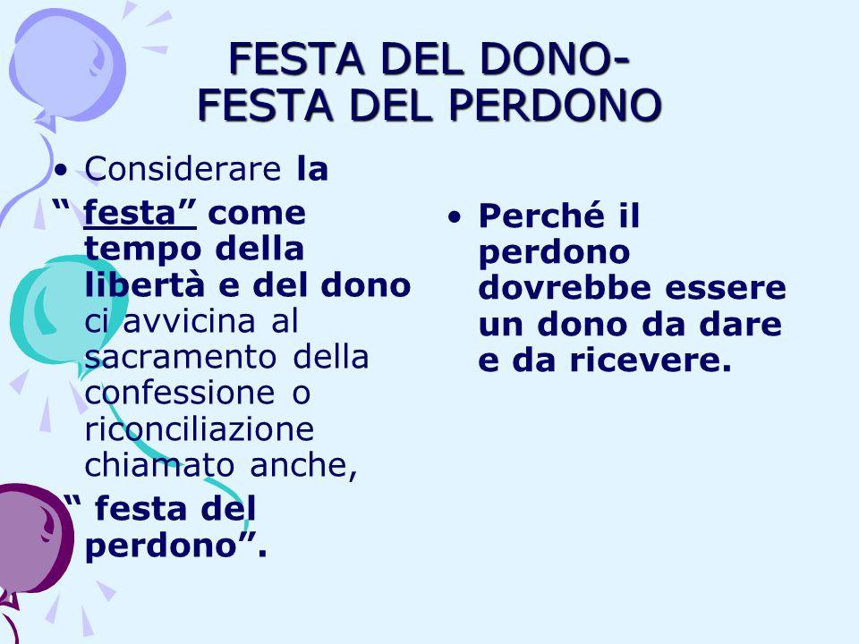 FESTA DEL DONO- FESTA DEL PERDONO