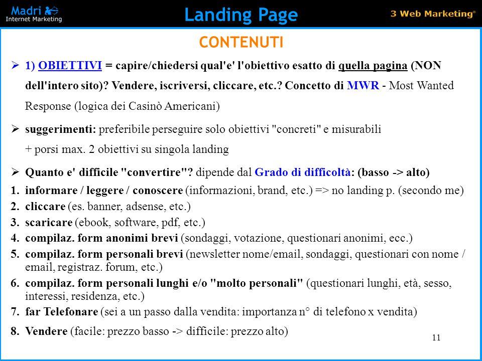 Landing Page CONTENUTI