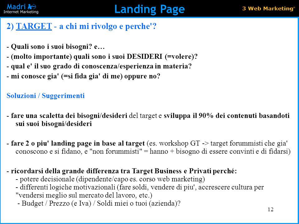 Landing Page 2) TARGET - a chi mi rivolgo e perche