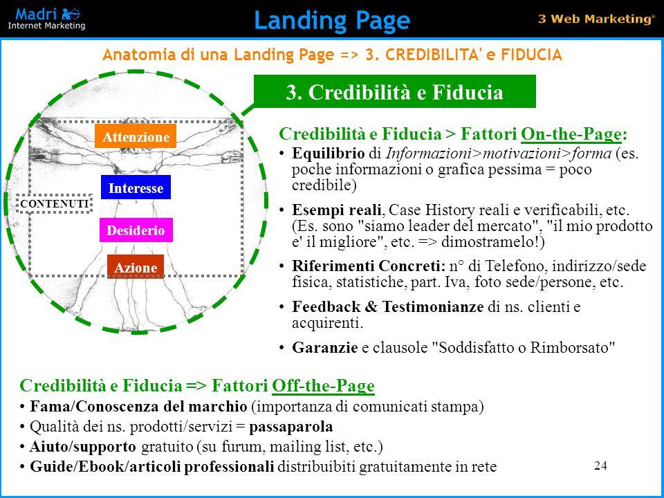 Anatomia di una Landing Page => 3. CREDIBILITA e FIDUCIA
