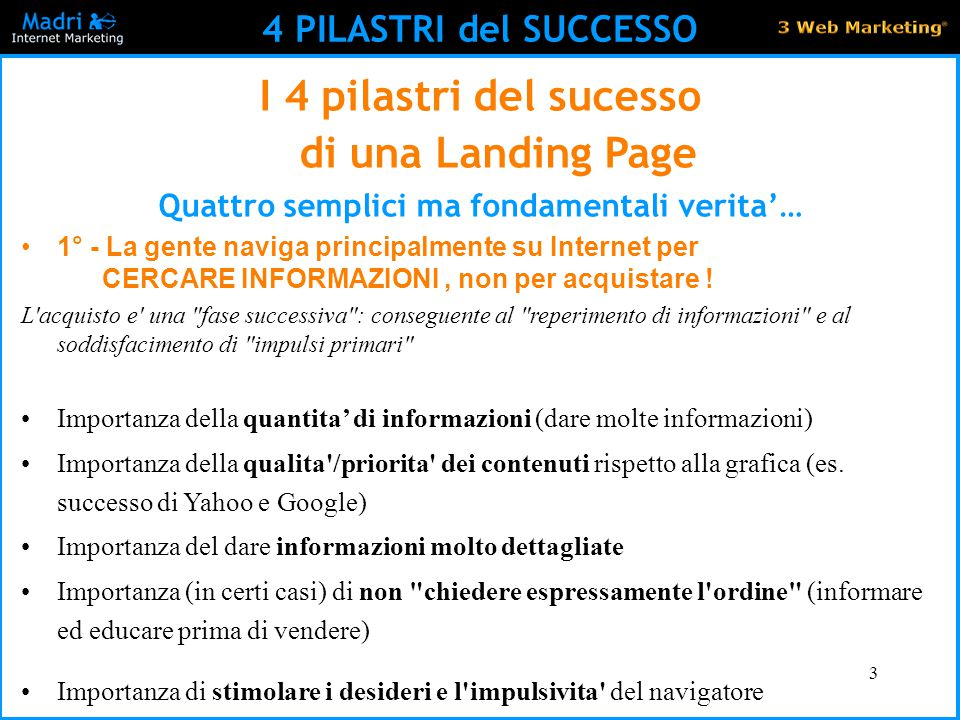 I 4 pilastri del sucesso di una Landing Page