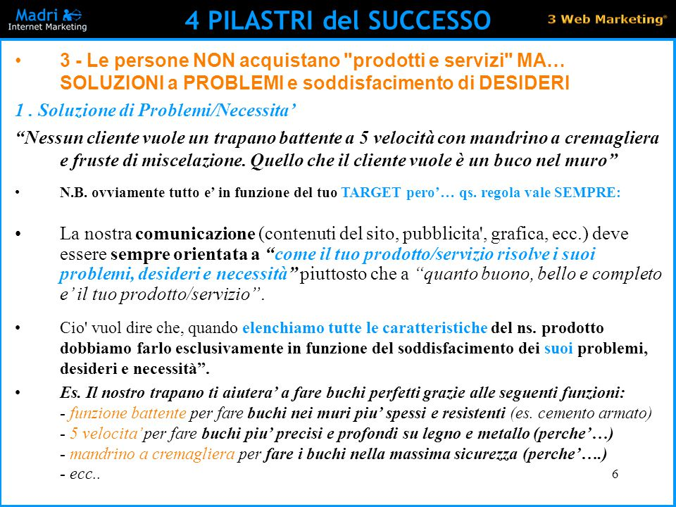 4 PILASTRI del SUCCESSO 3 - Le persone NON acquistano prodotti e servizi MA… SOLUZIONI a PROBLEMI e soddisfacimento di DESIDERI.