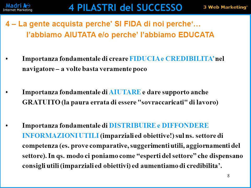 4 PILASTRI del SUCCESSO 4 – La gente acquista perche SI FIDA di noi perche'… l'abbiamo AIUTATA e/o perche' l'abbiamo EDUCATA.