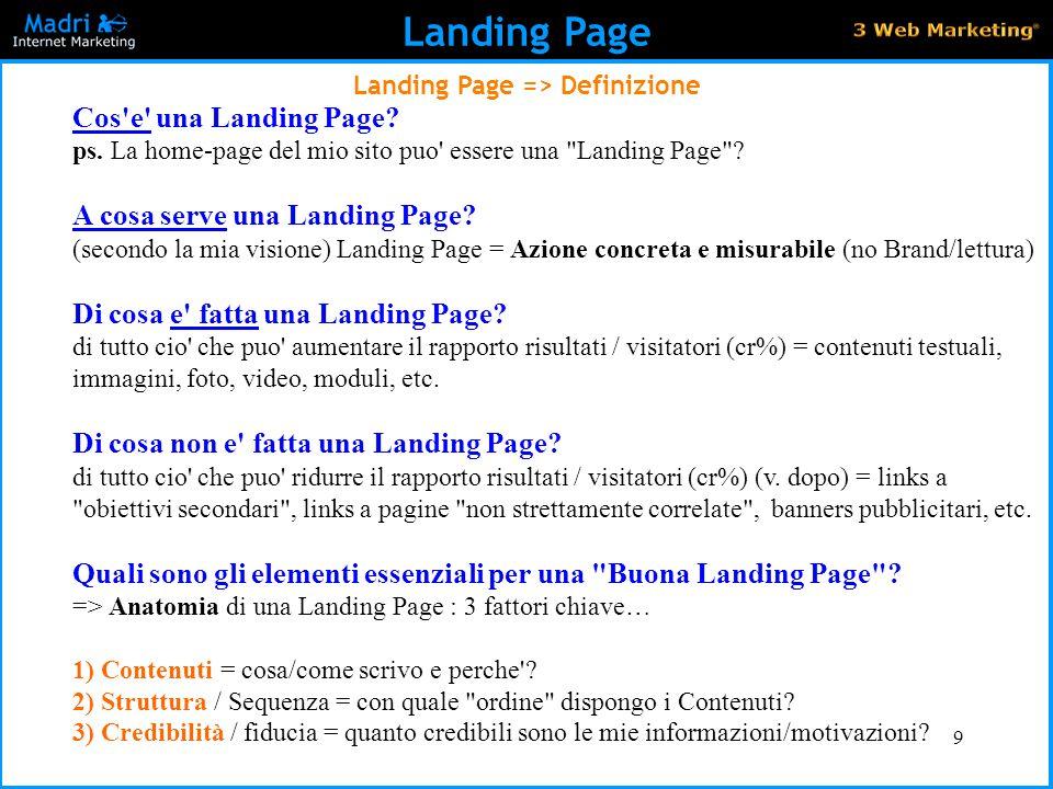 Landing Page => Definizione