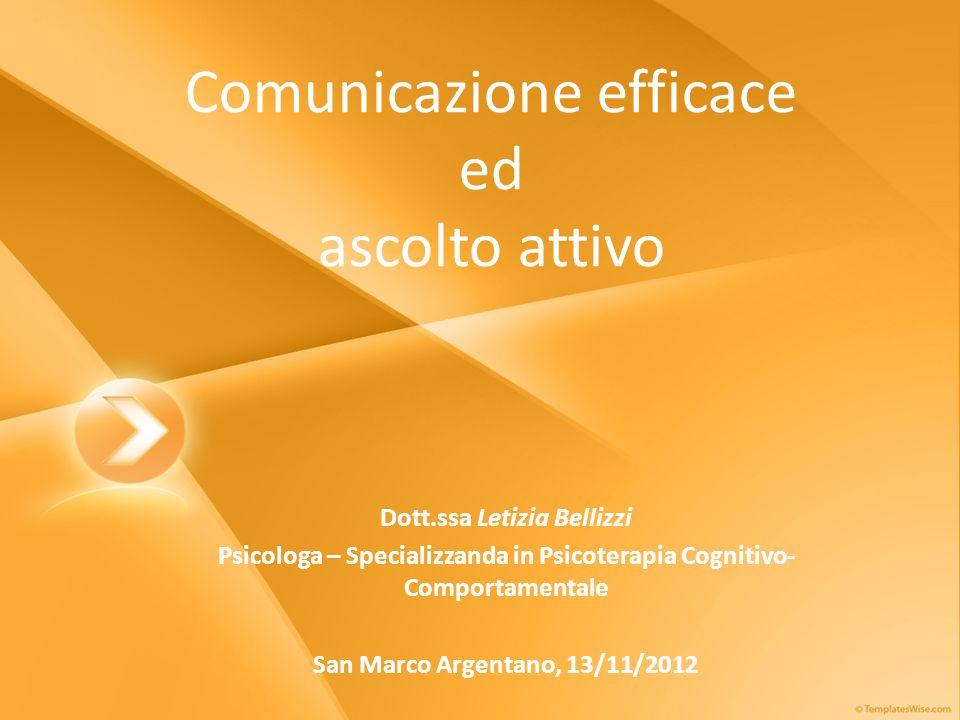 Comunicazione efficace ed ascolto attivo