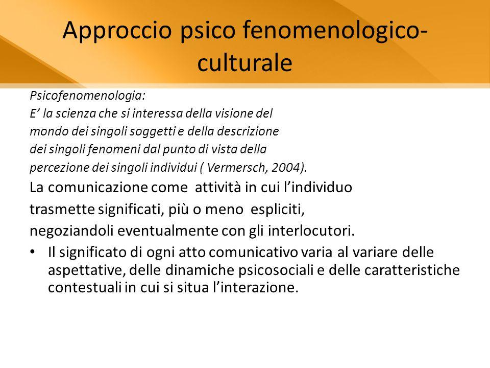 Approccio psico fenomenologico-culturale