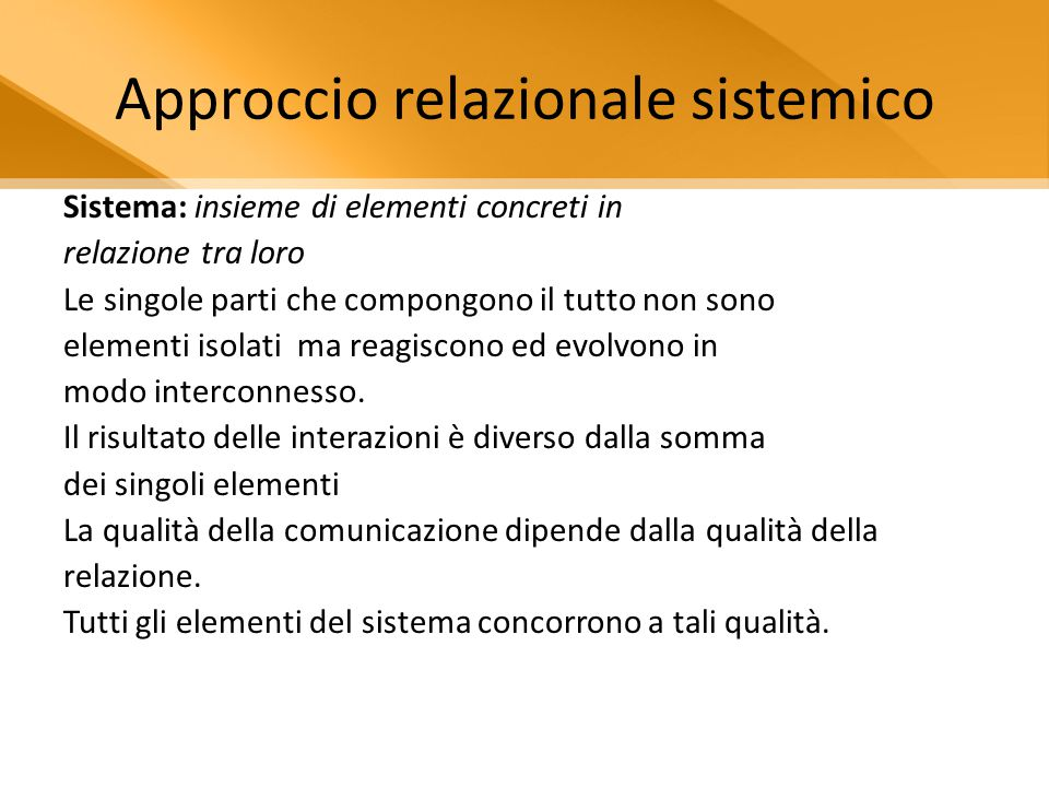 Approccio relazionale sistemico