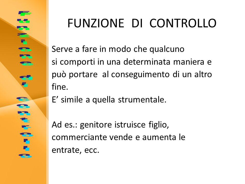 FUNZIONE DI CONTROLLO Funzione di controllo