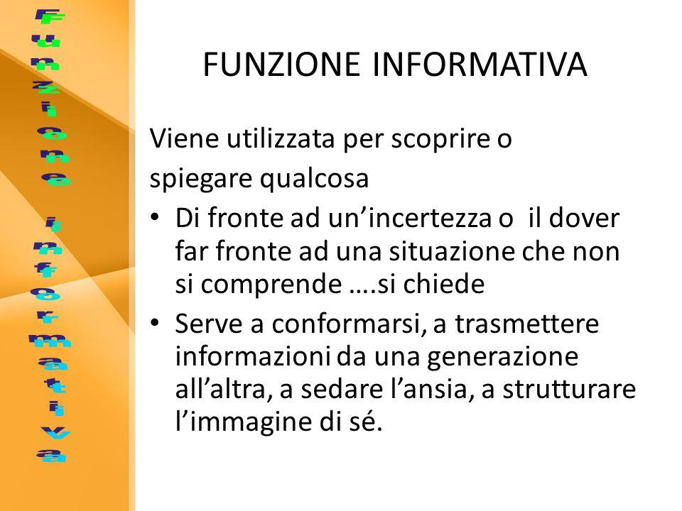 FUNZIONE INFORMATIVA Funzione informativa